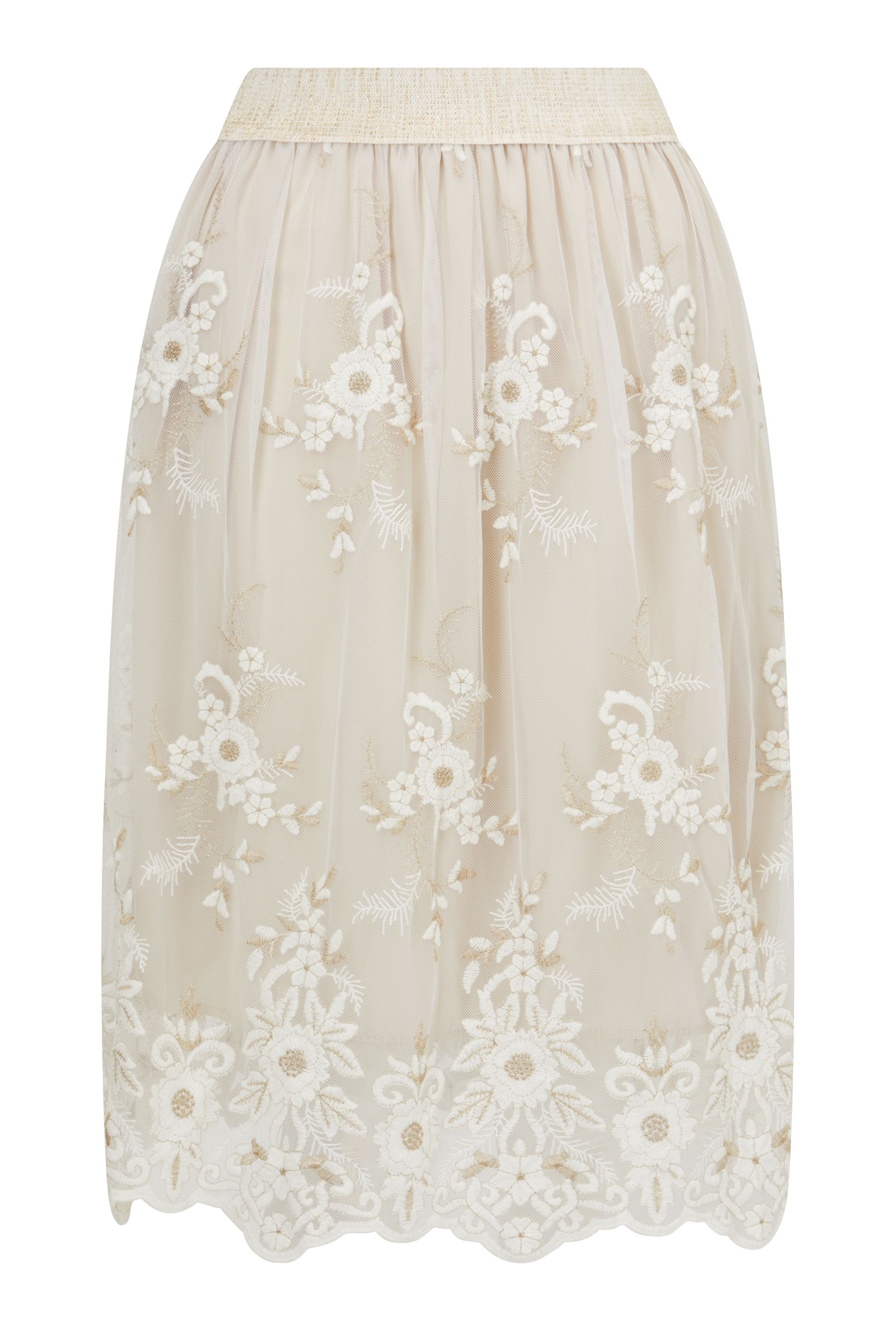 James Lakeland Embroidered Lace Midi Skirt, Cream