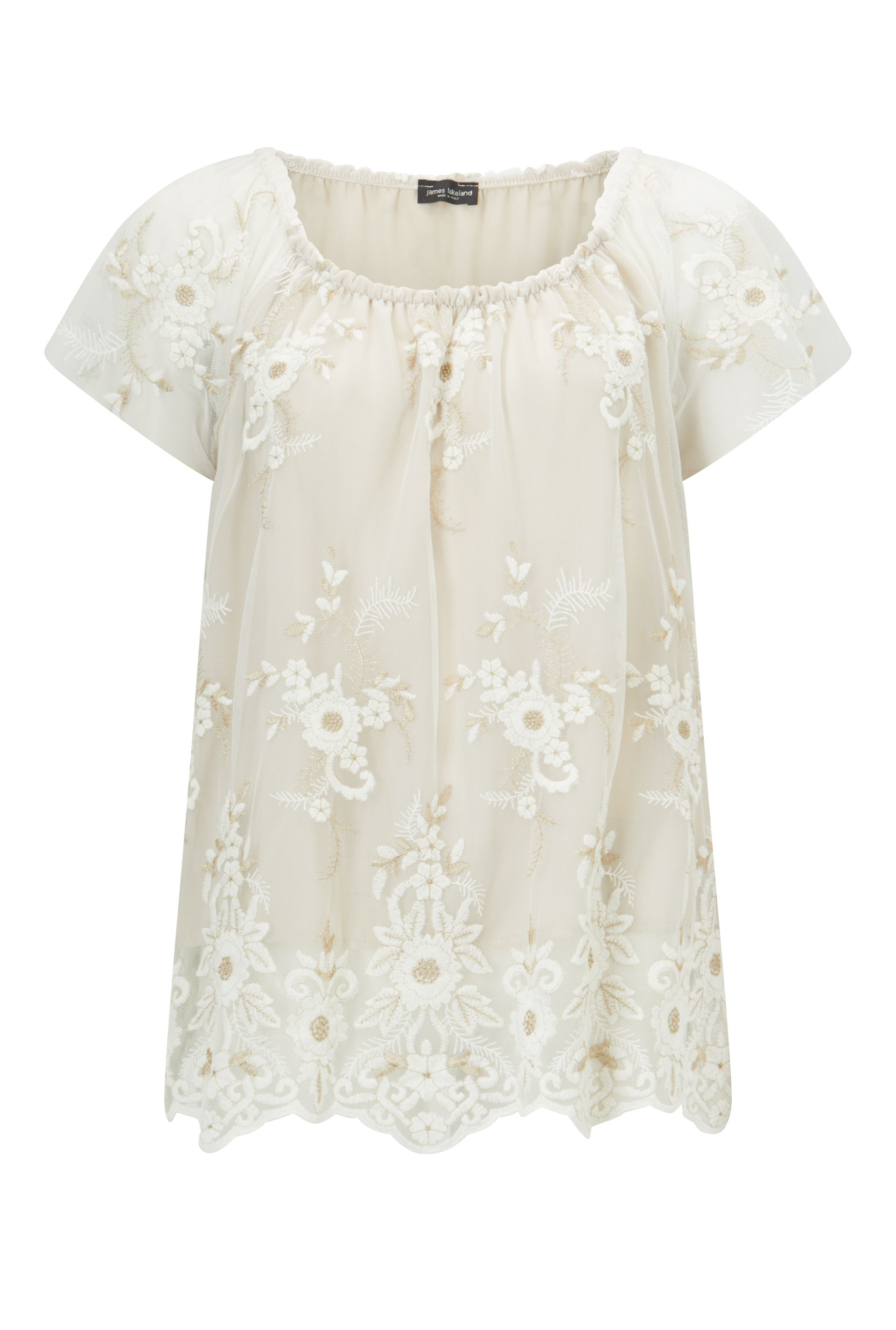 James Lakeland Embroidered Lace Top, Cream