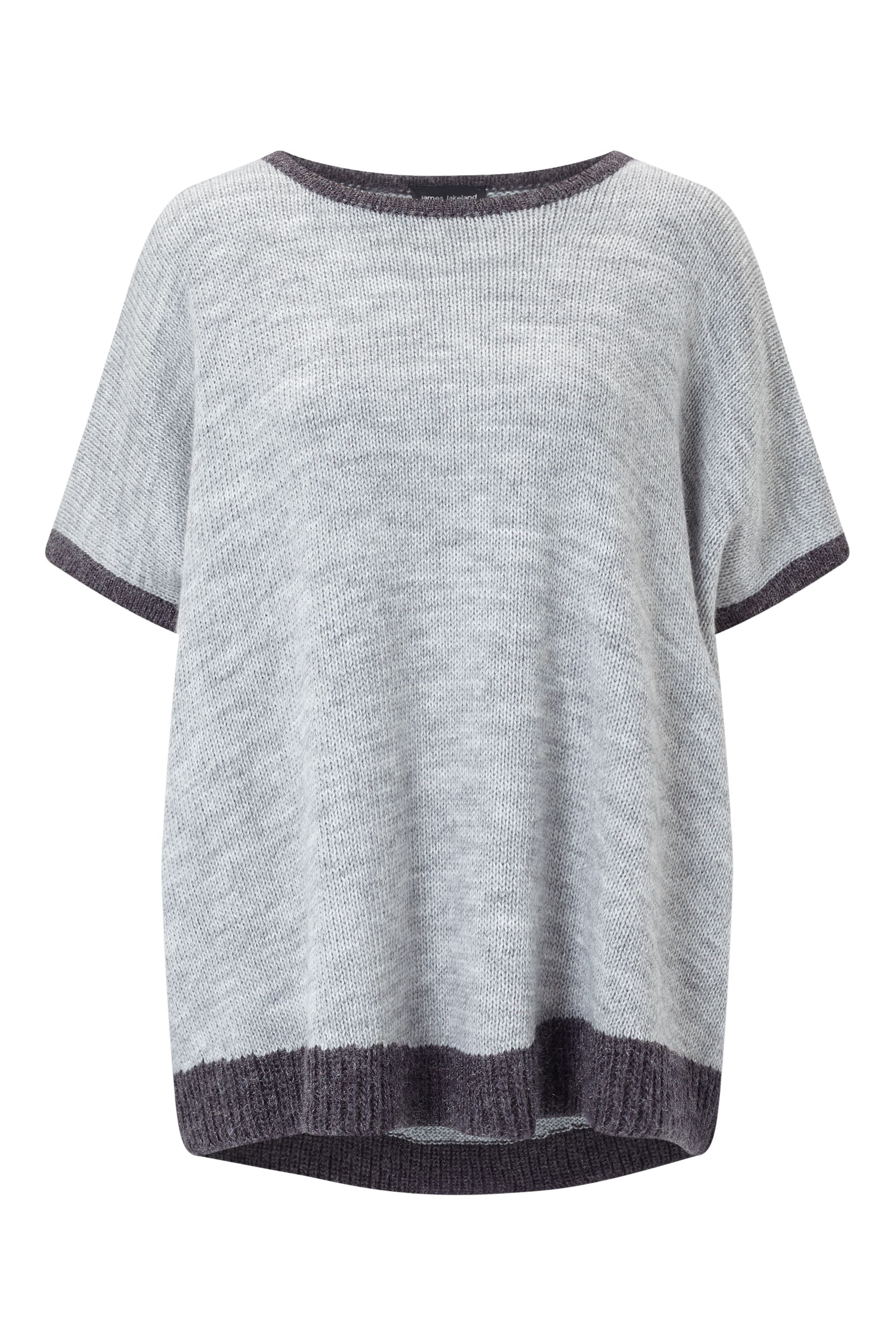 James Lakeland Contrast Hem Knit Top, Grey