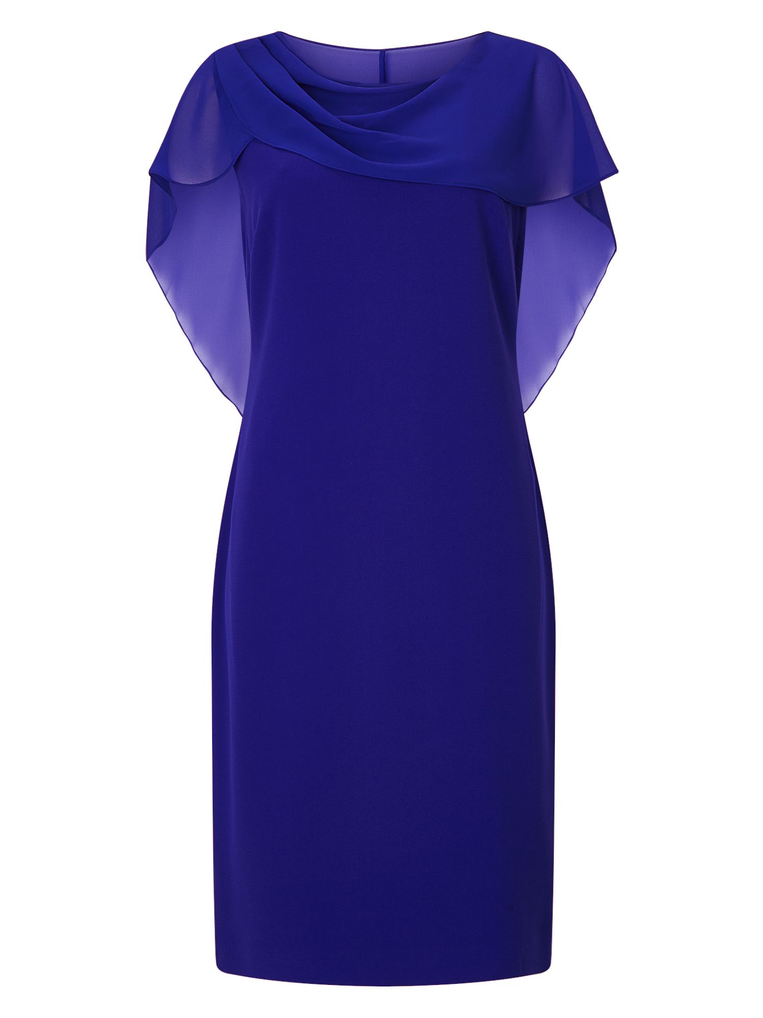 Jacques Vert Wrap Drape Cape Dress, Blue