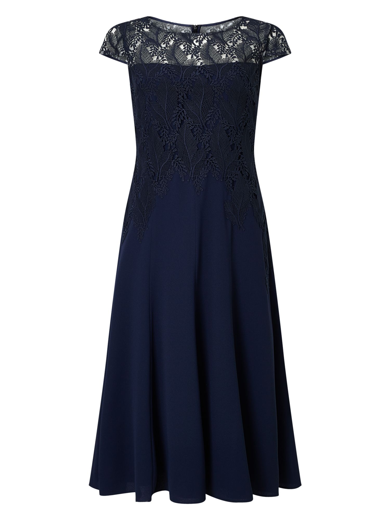 Jacques Vert Leaf Lace Top Crepe Soft Dress, Blue