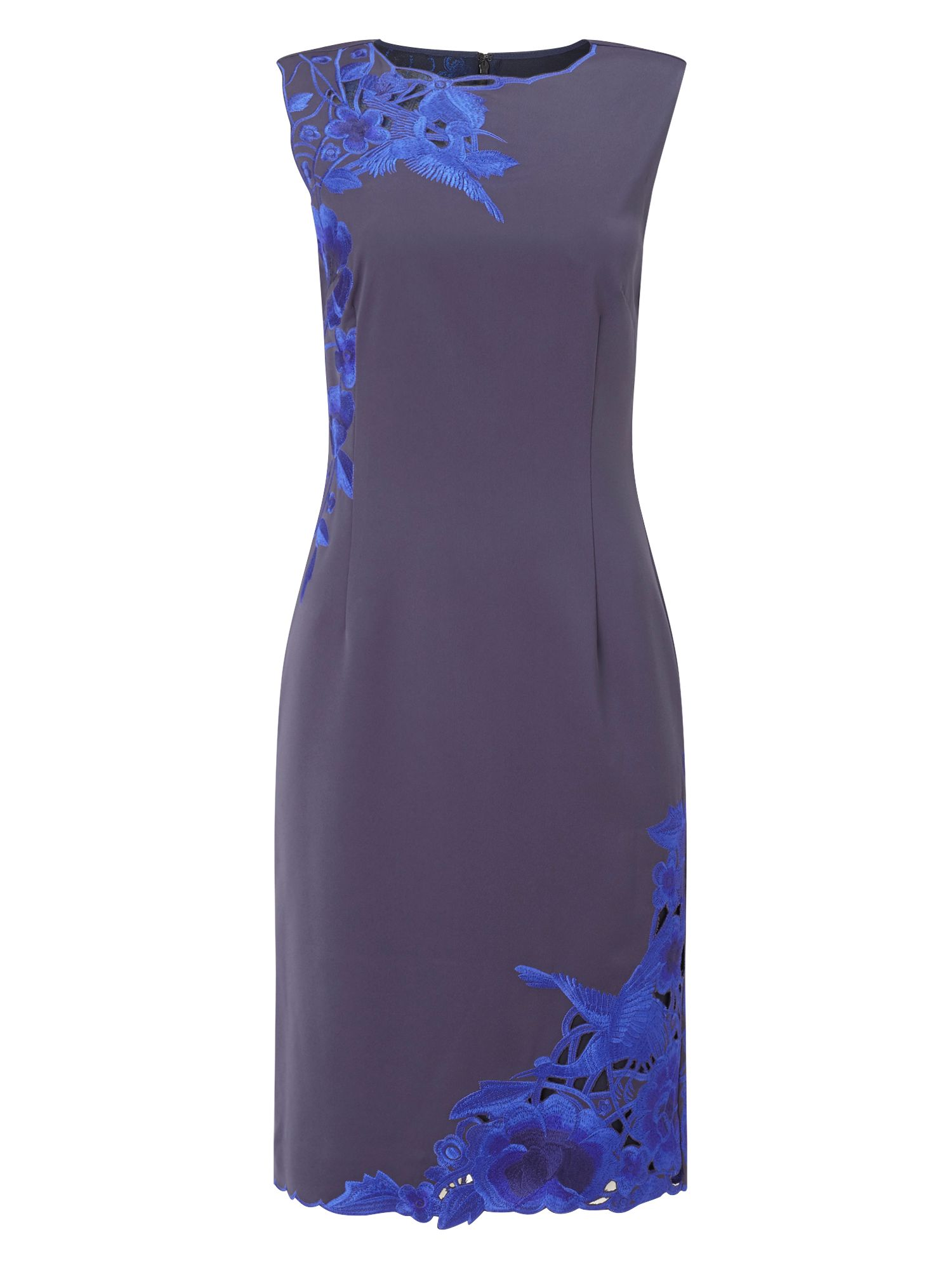 Precis Petite Petite Navy Embroidered Dress, Blue