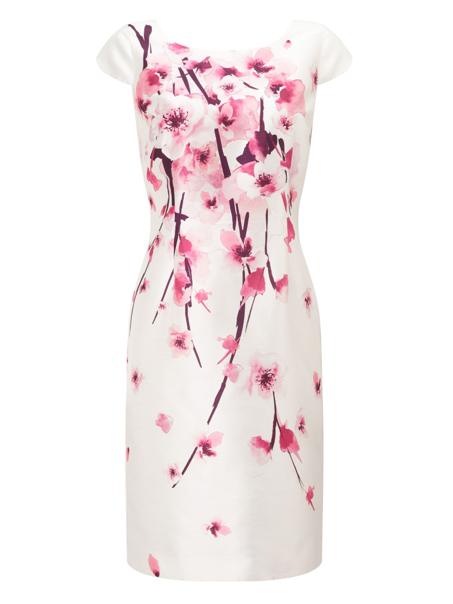 Jacques Vert Petite Blossom Shantung Dress, Multi-Coloured