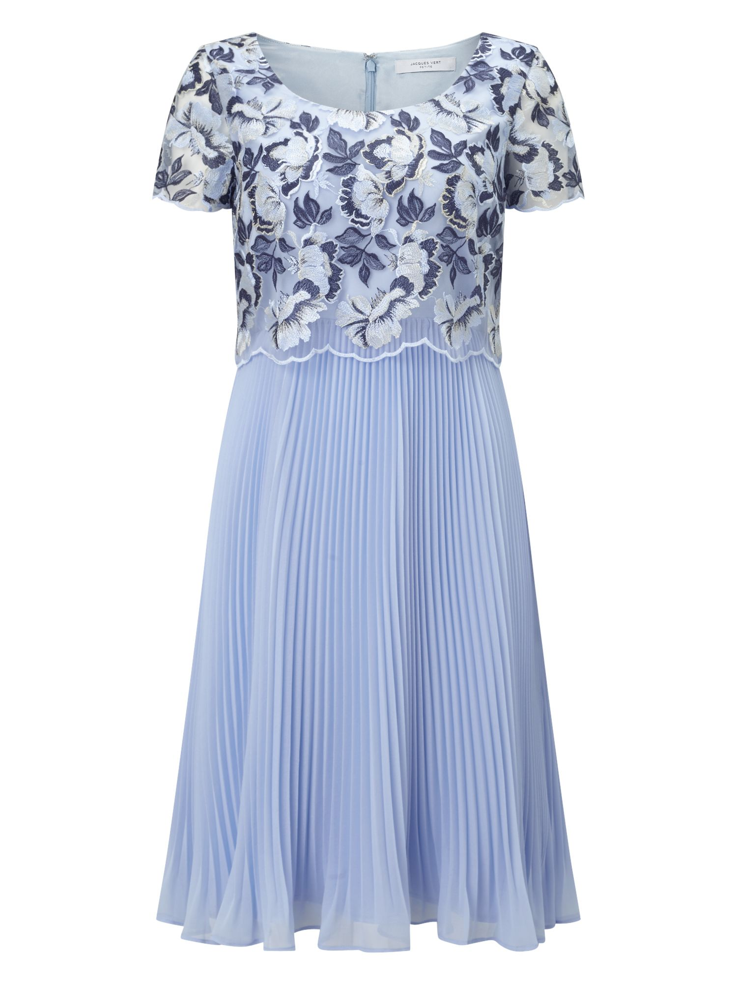 Jacques Vert Petite Floral Plisse Dress, Blue