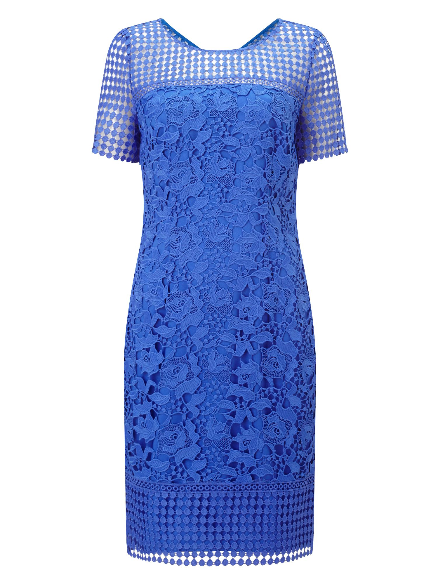 Jacques Vert Petite Floral Lace Dress, Blue