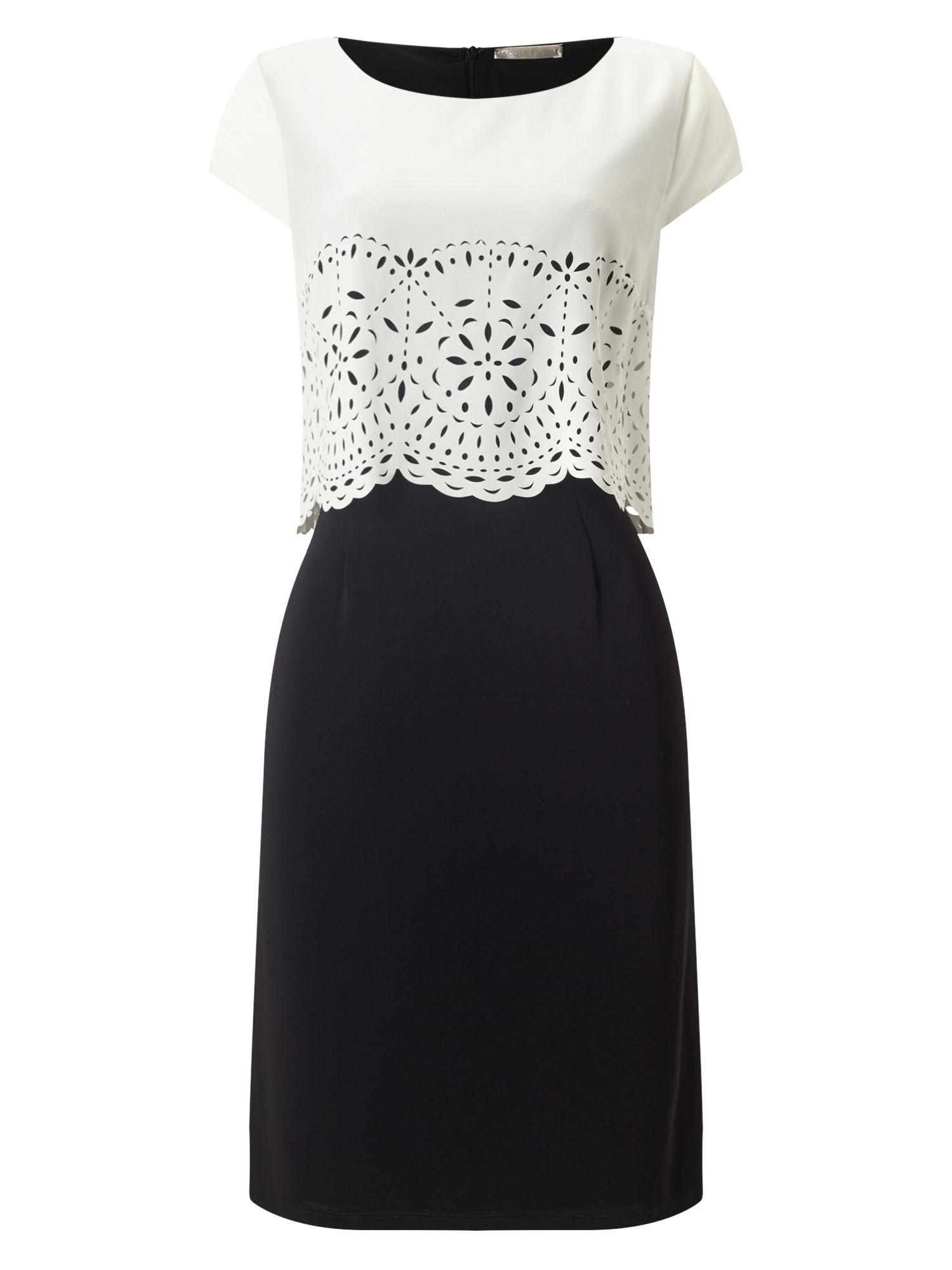 Jacques Vert Cutwork Layers Crepe Dress, Multi-Coloured
