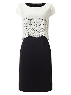 Cutwork Layers Crepe Dress