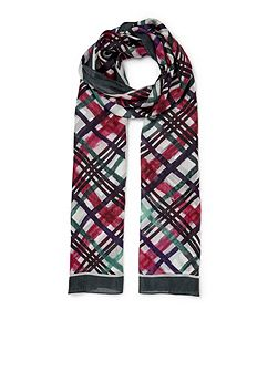 Brushstroke Check Silk Scarf
