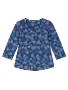 Dash Navy Leaf Printed Top