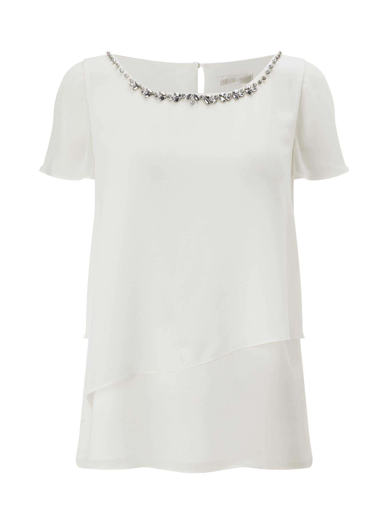 Jacques Vert Jewel Trim Layers Top, Neutral