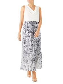 Jacques Vert Printed Plisse Contrast Skirt