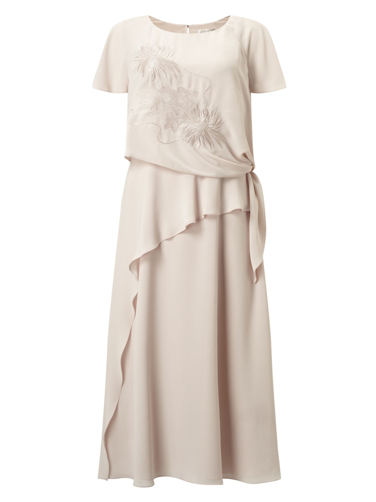 Jacques Vert Tie Side Embroidered Dress, Neutral
