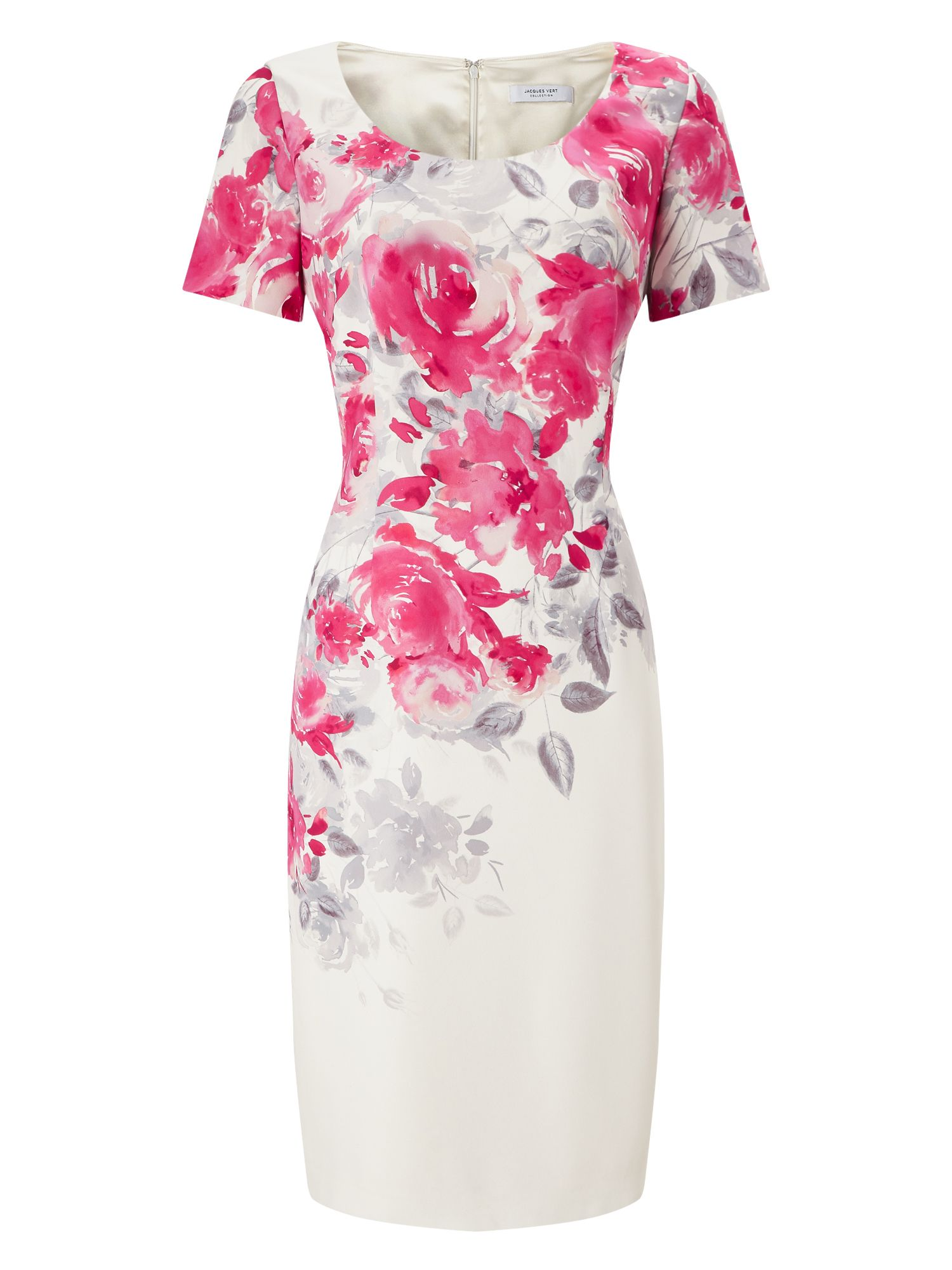 Jacques Vert Rose Print Shift Dress, Multi-Coloured