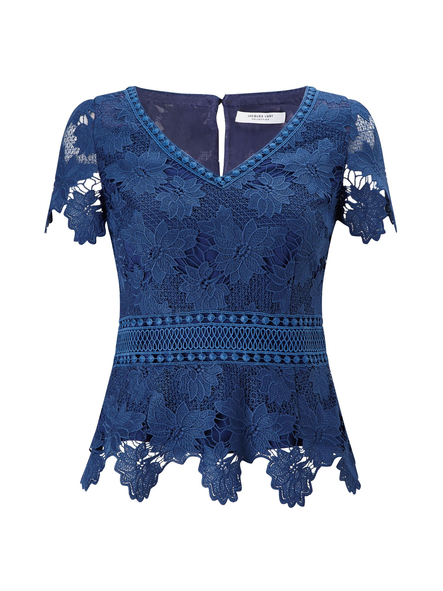Jacques Vert Lace Border Top, Blue