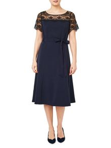 Jacques Vert Lace Yoke Crepe Dress