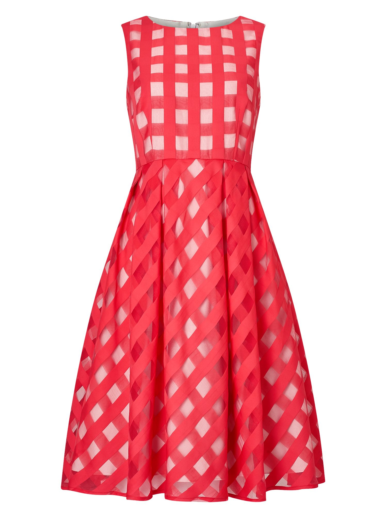 Precis Petite Petite Check Flared Dress, Red
