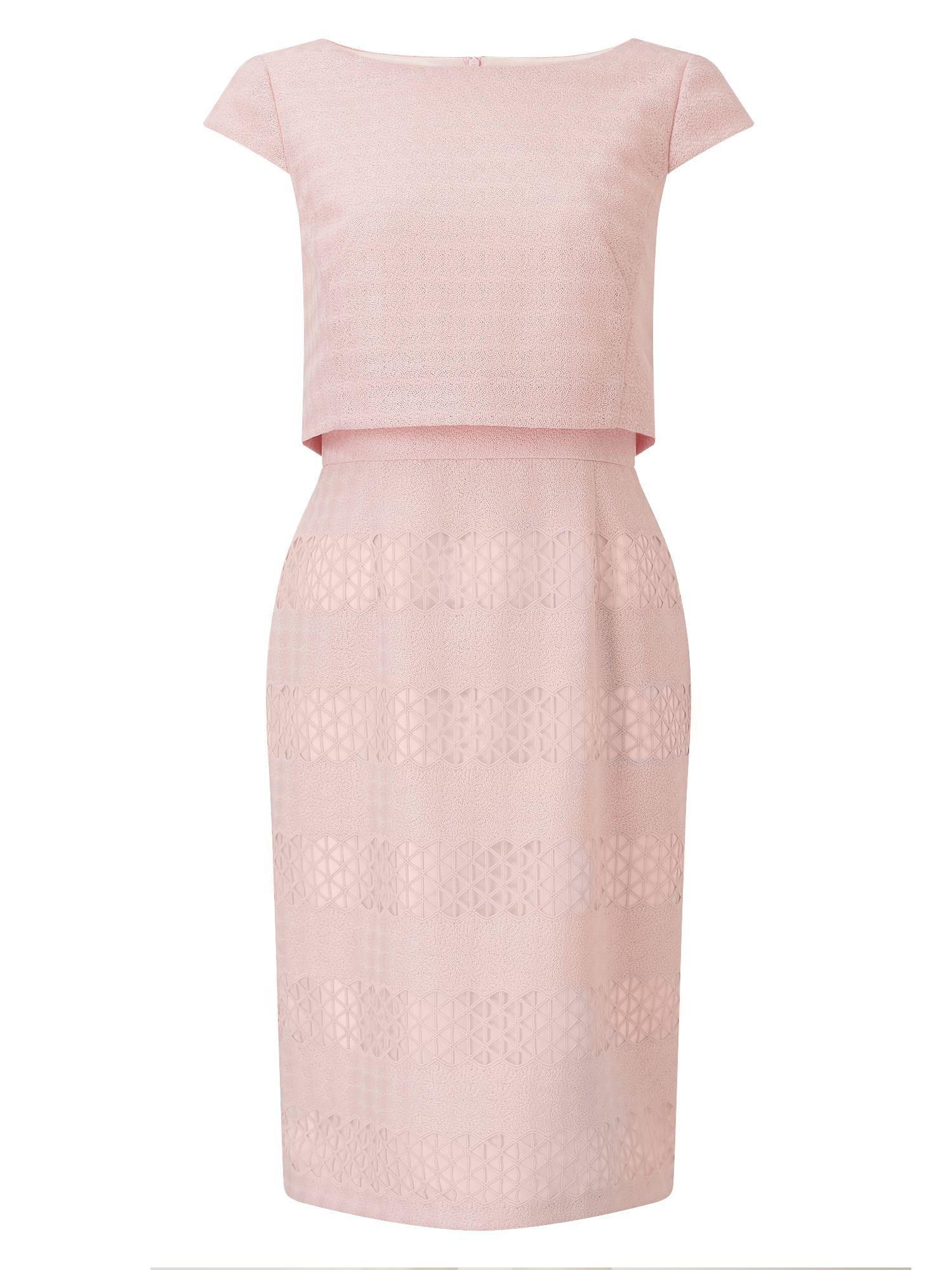 Jacques Vert Geo Lace Shelf Dress, Pink
