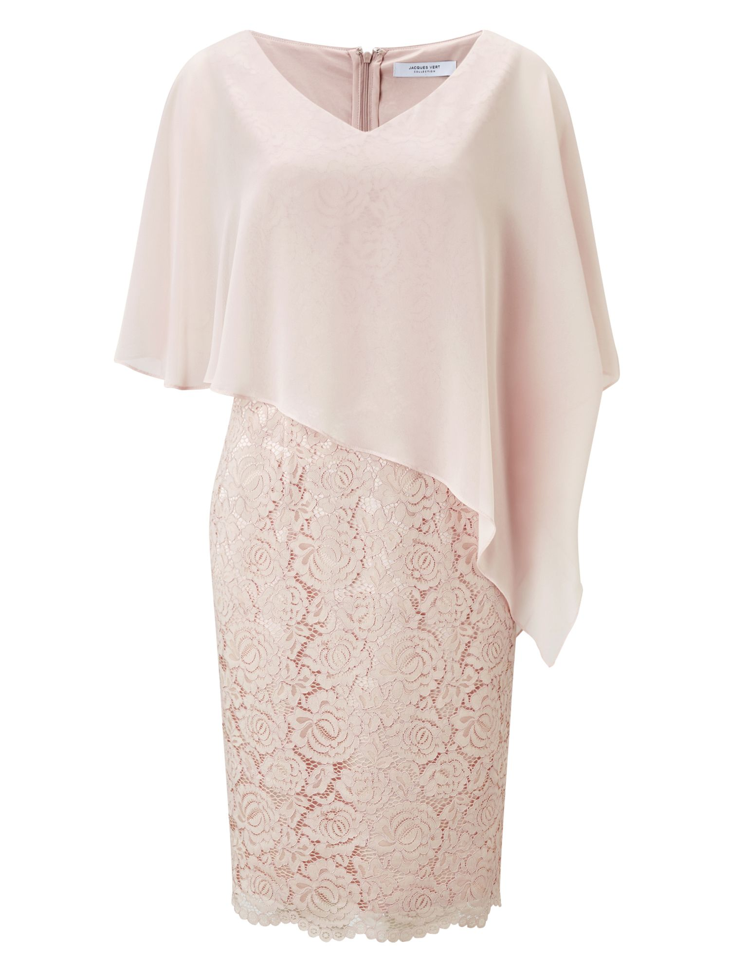 Jacques Vert Lace And Chiffon Dress, Neutral