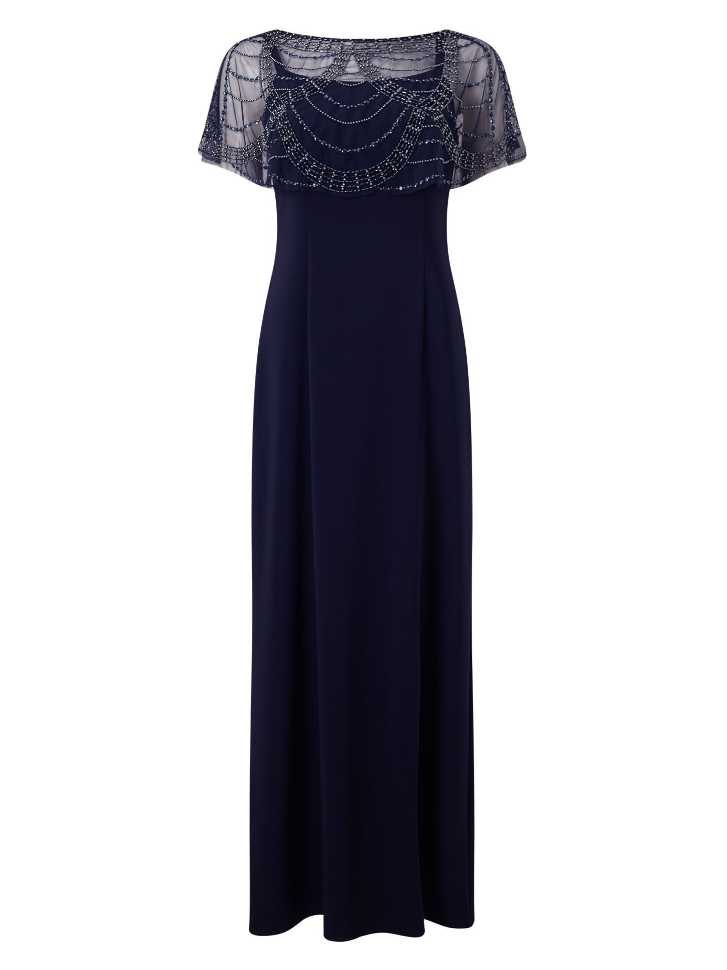 Jacques Vert Jvs Beaded Shawl Maxi Dress, Blue