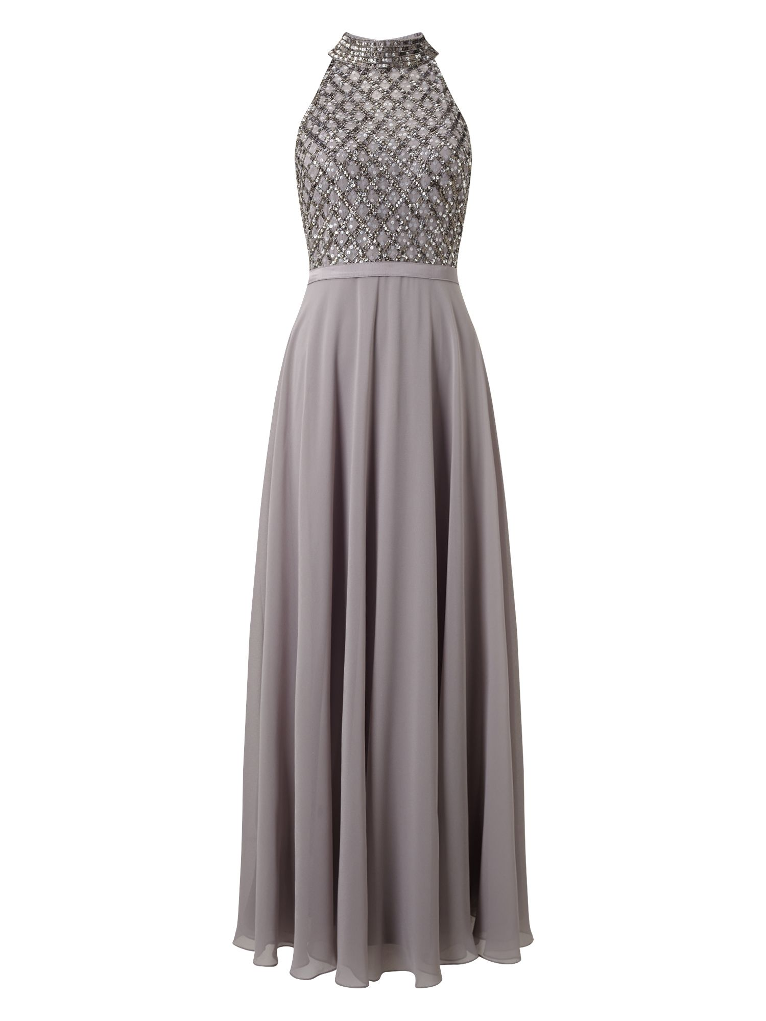 Jacques Vert Jvs Embellished High Neck Maxi, Grey