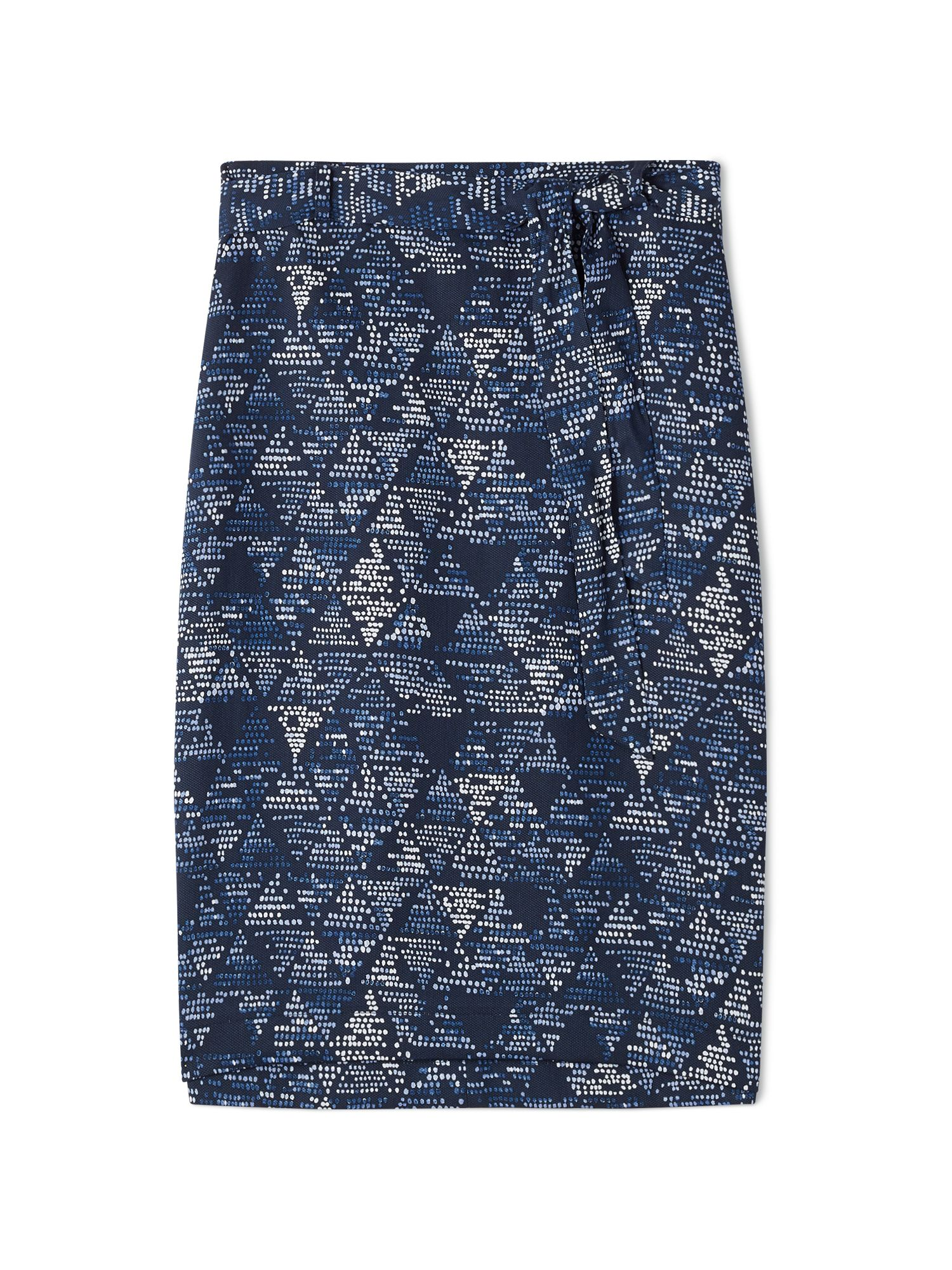 Dash Printed Tie-Waist Skirt, Blue