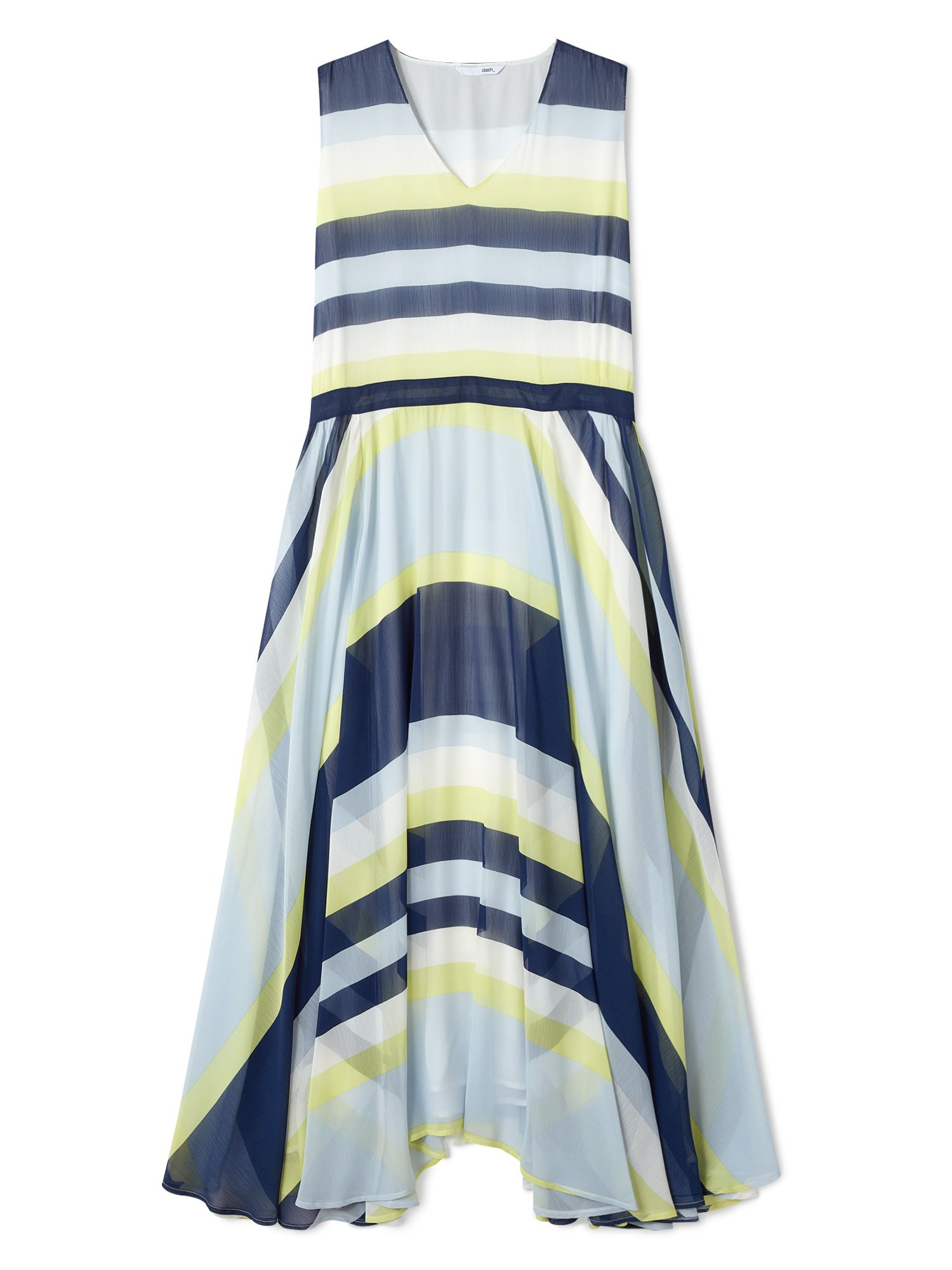 Dash Stripe Georgette Maxi Dress, Blue