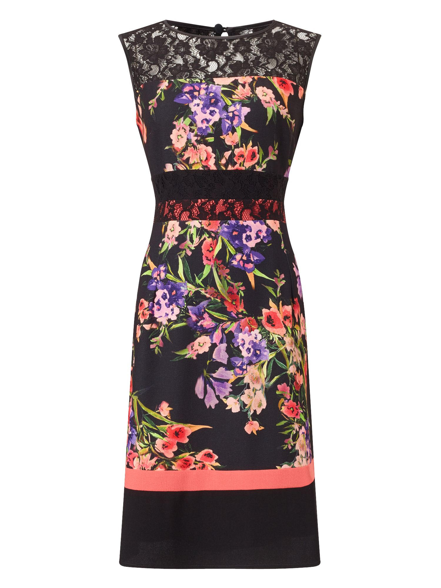 Precis Petite Petite Print And Lace Dress, Multi-Coloured