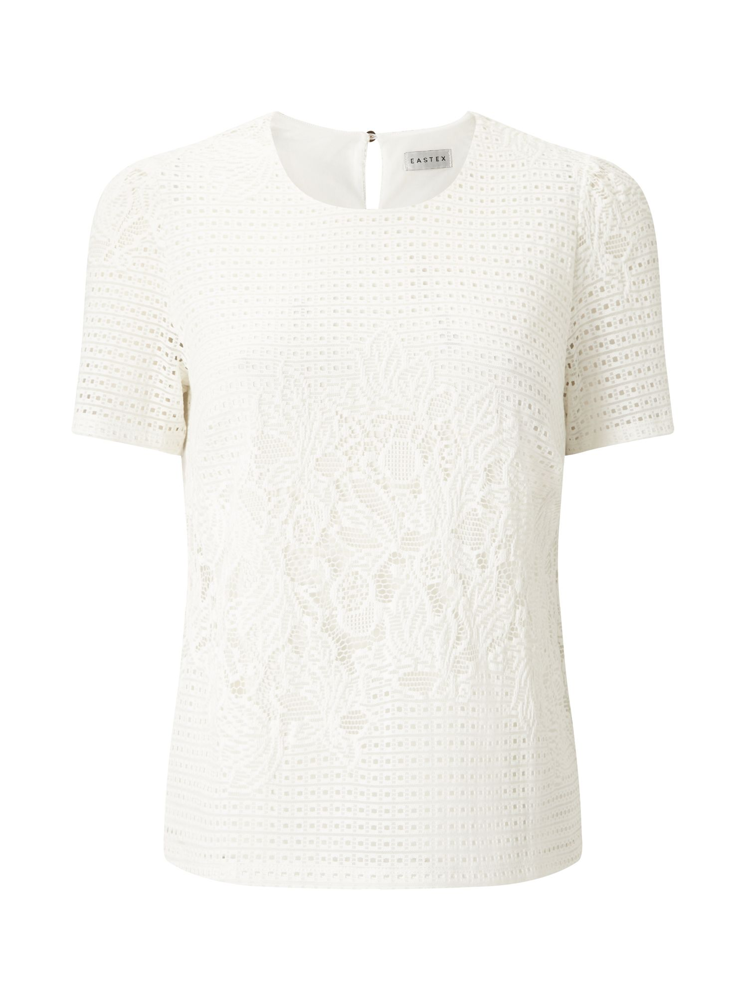 Eastex Geo Lace Ss Jersey Top, Neutral