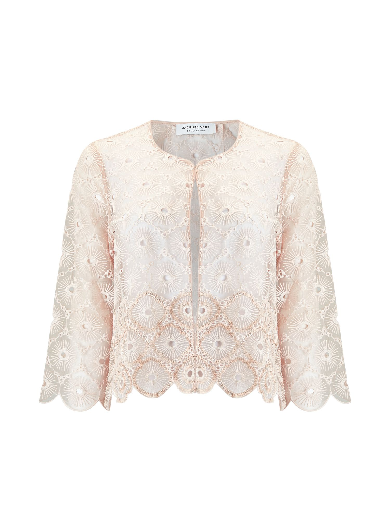 Jacques Vert Sequin Emb Anglaise Jacket, Neutral