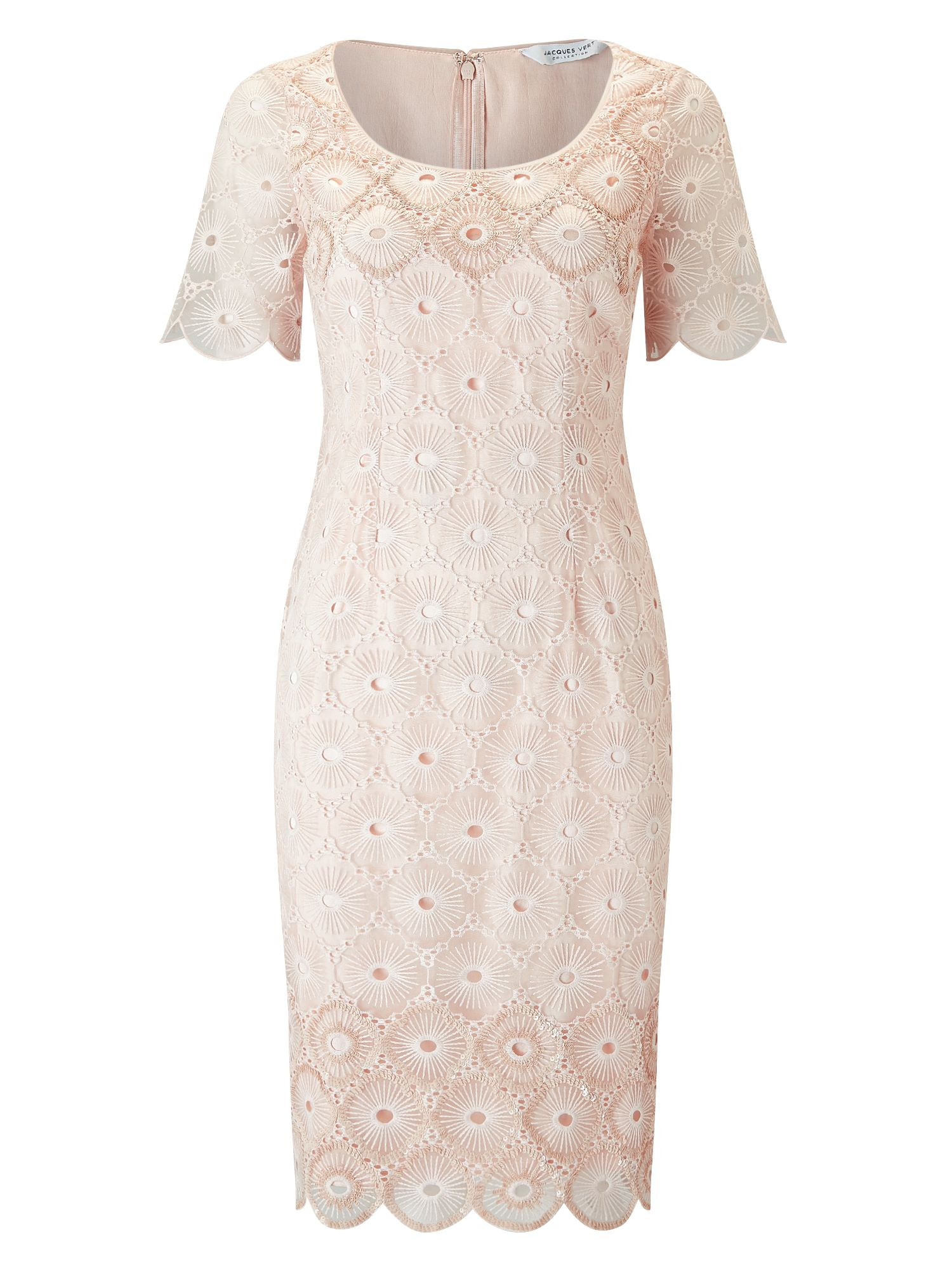 Jacques Vert Sequin Emb Anglaise Dress, Neutral