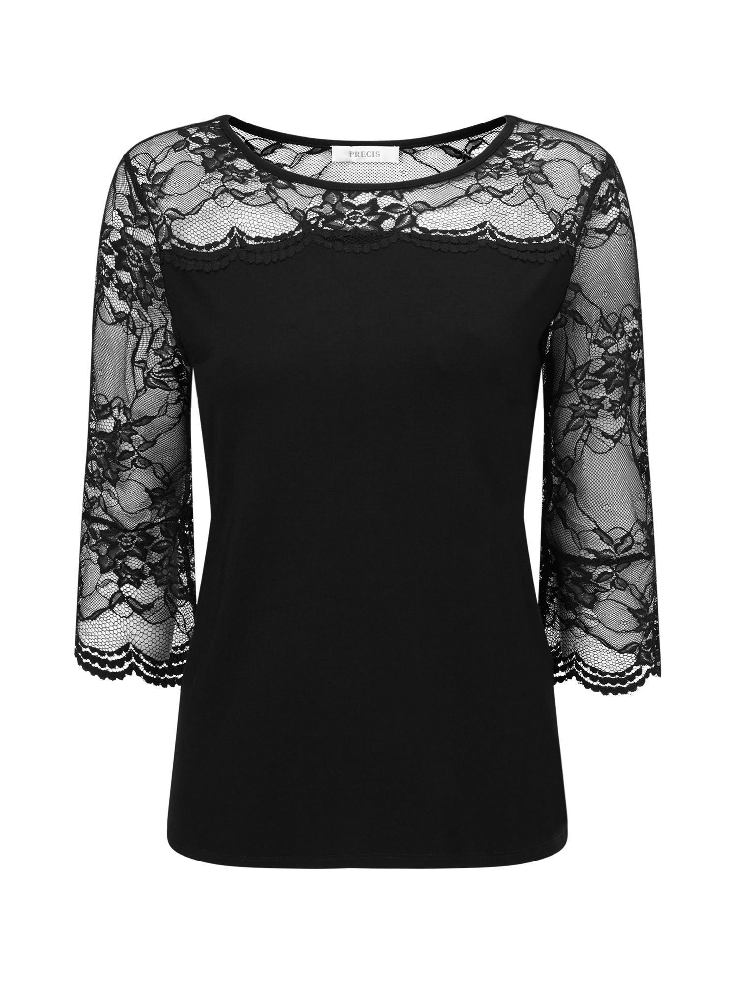 Precis Petite Petite Lace Flute Sleeve Top, Black