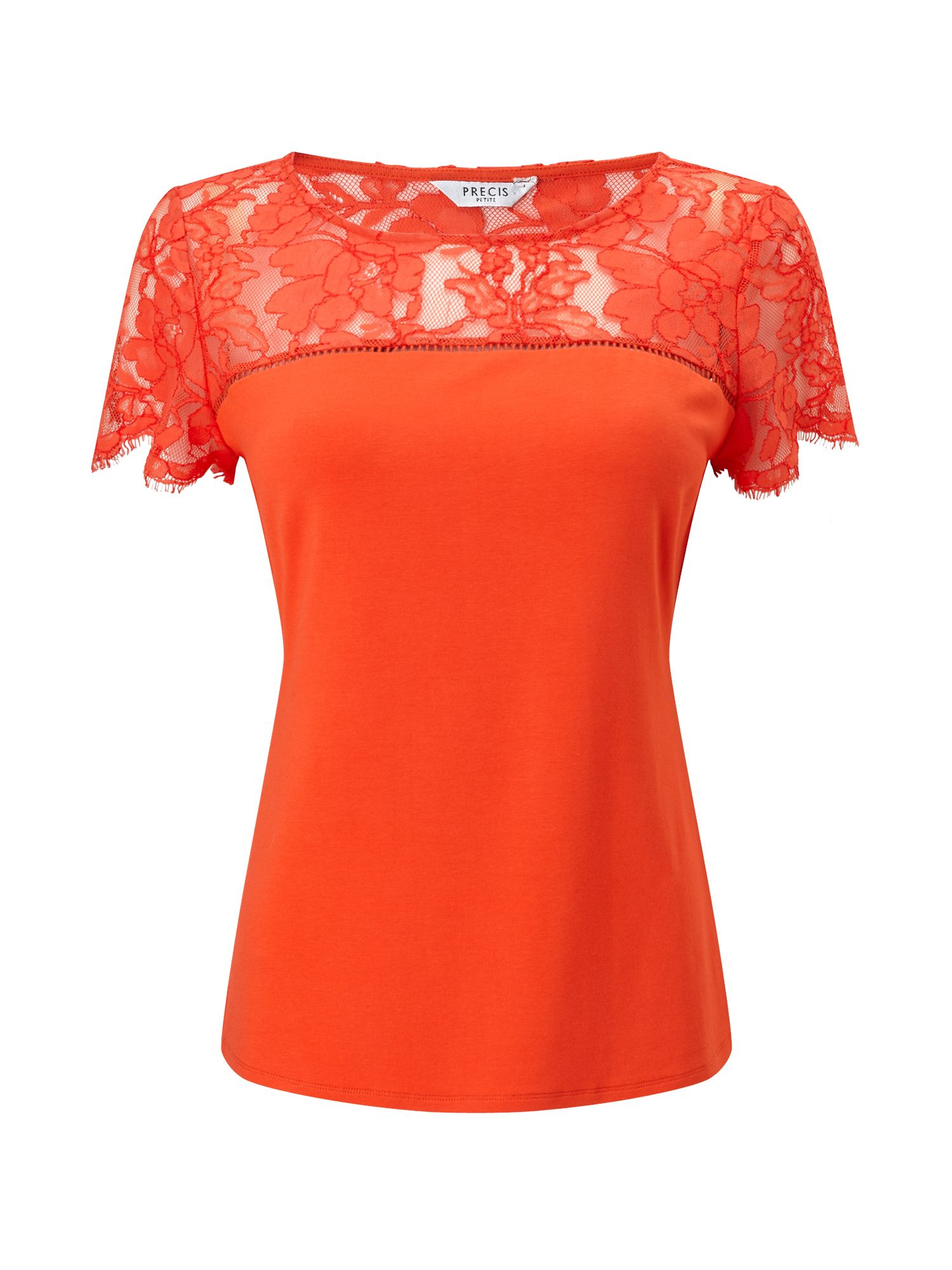Precis Petite Petite Lace Mix Tee, Orange