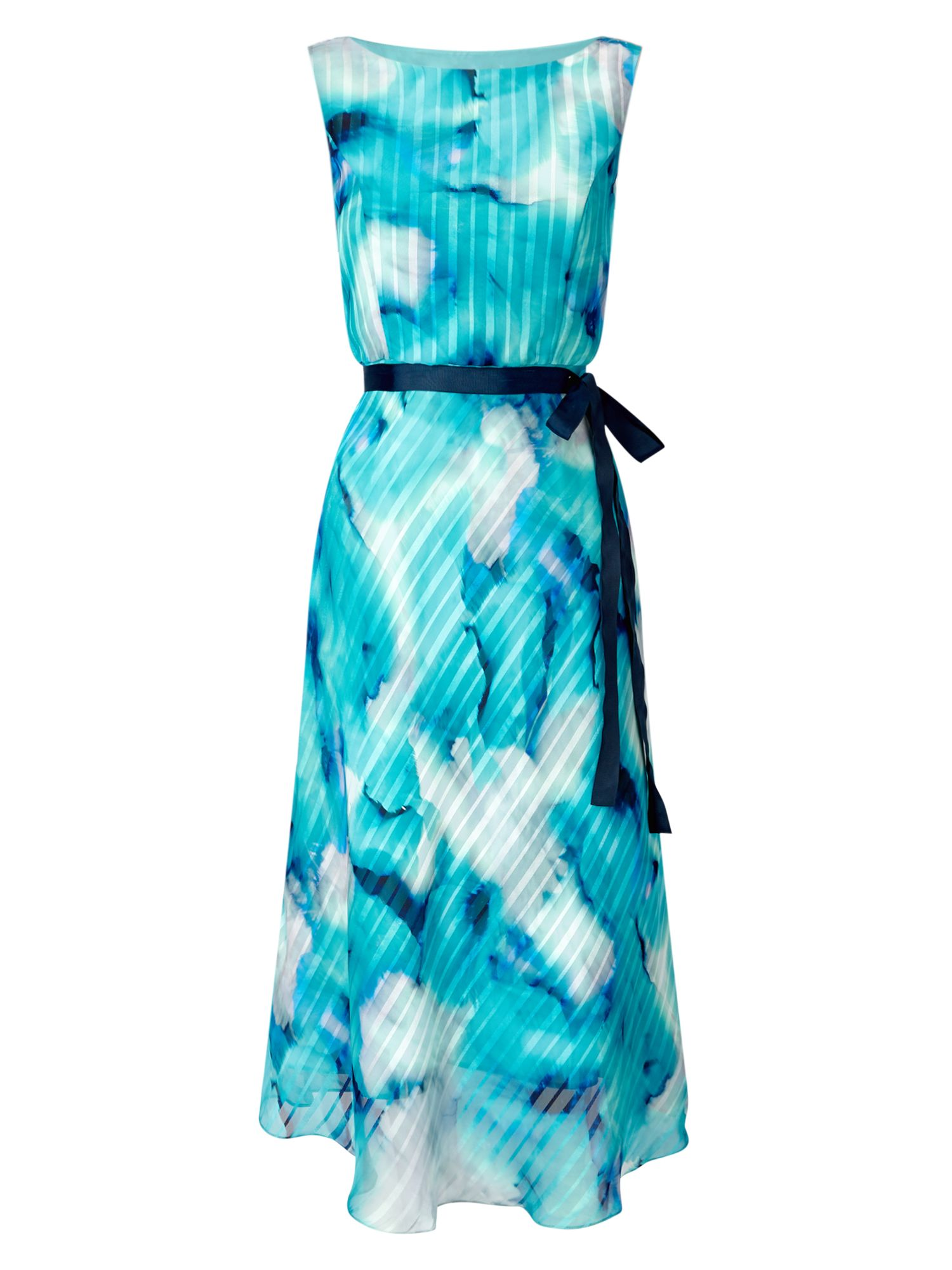 Jacques Vert Printed Stripe Prom, Turquoise