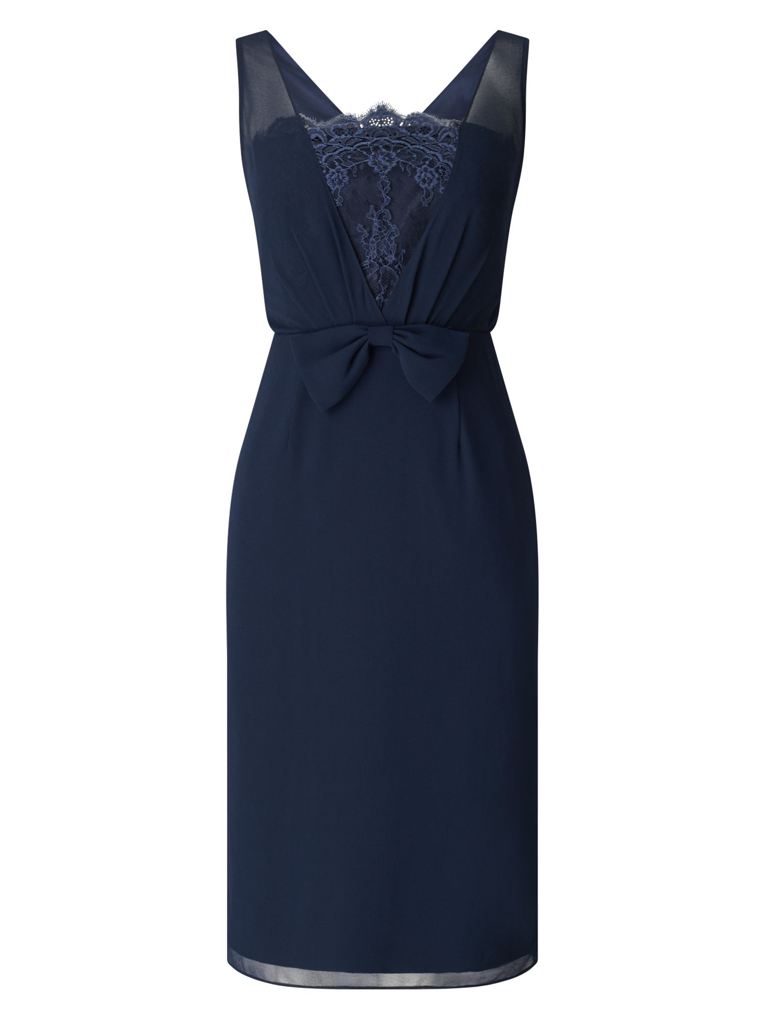 Jacques Vert Chiffon Lace Trim Dress, Blue