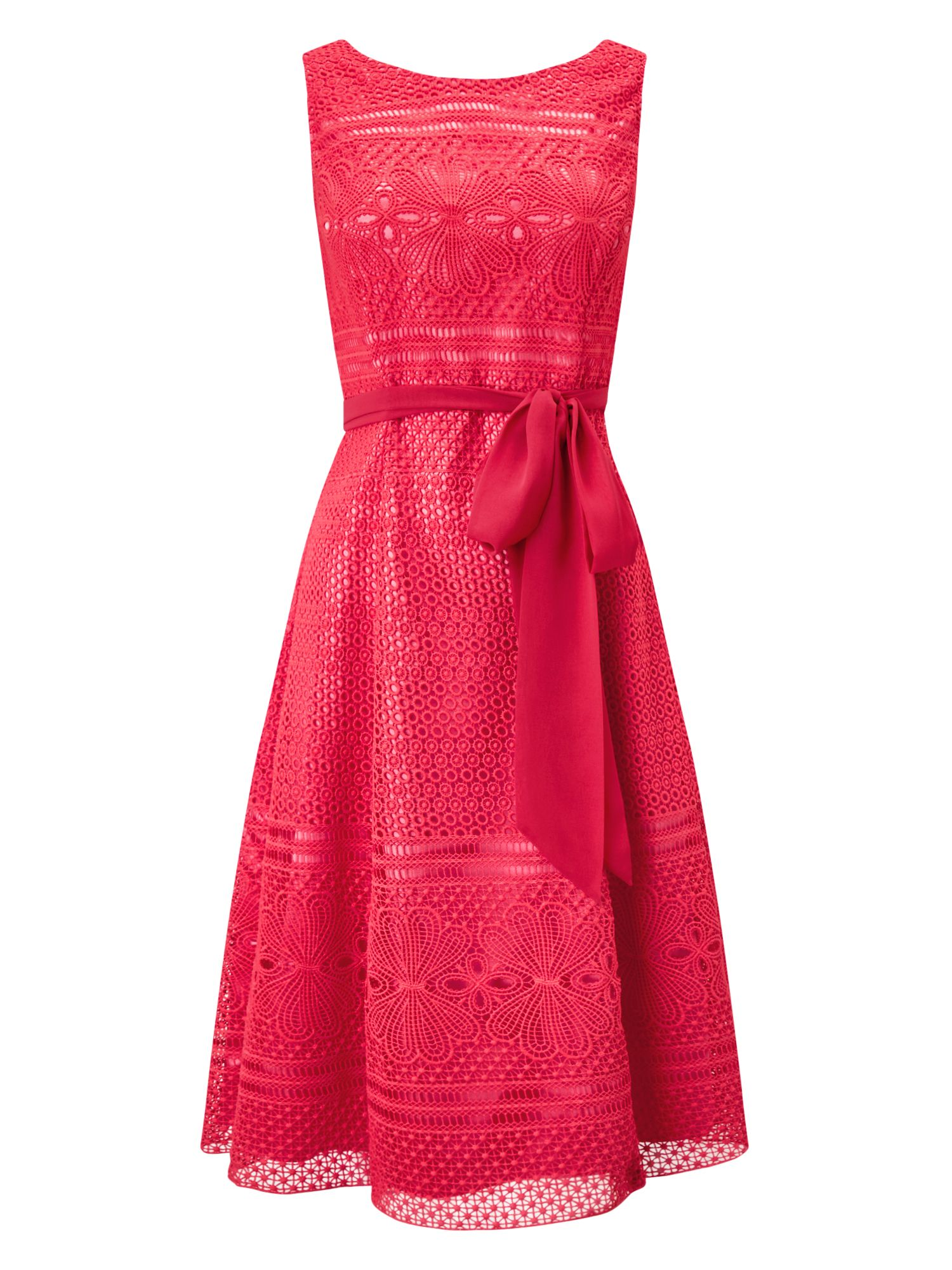 Jacques Vert Lace And Fit Flare Dress, Pink