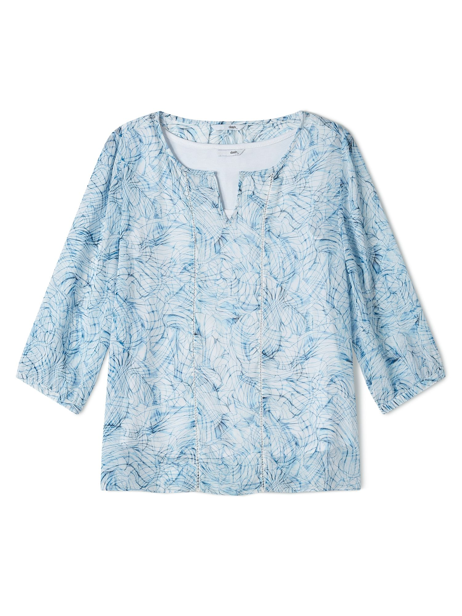 Dash Inky Shells Georgette Blouse, Blue