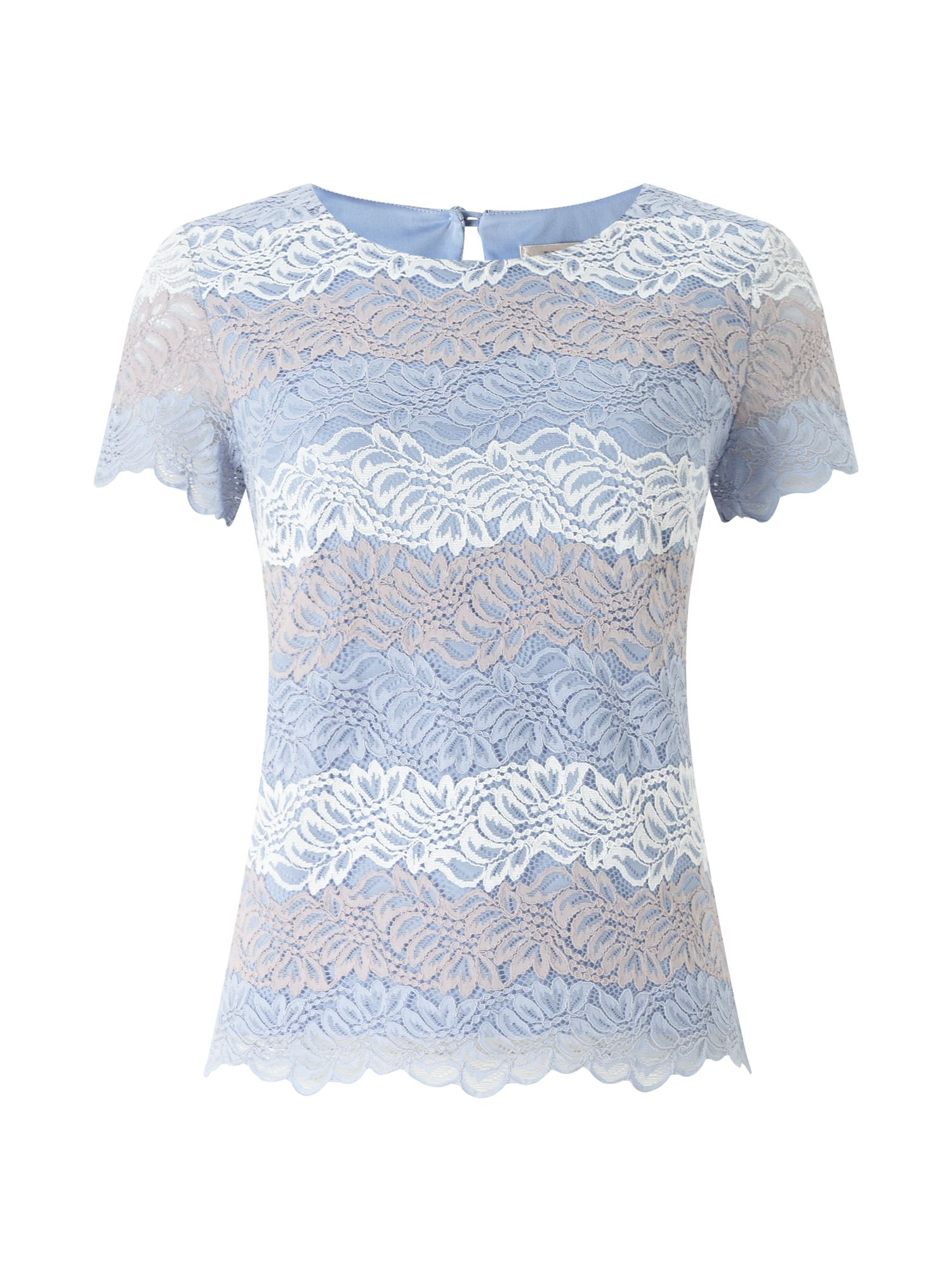 Precis Petite Petite Sara Stripe Lace Top, Blue