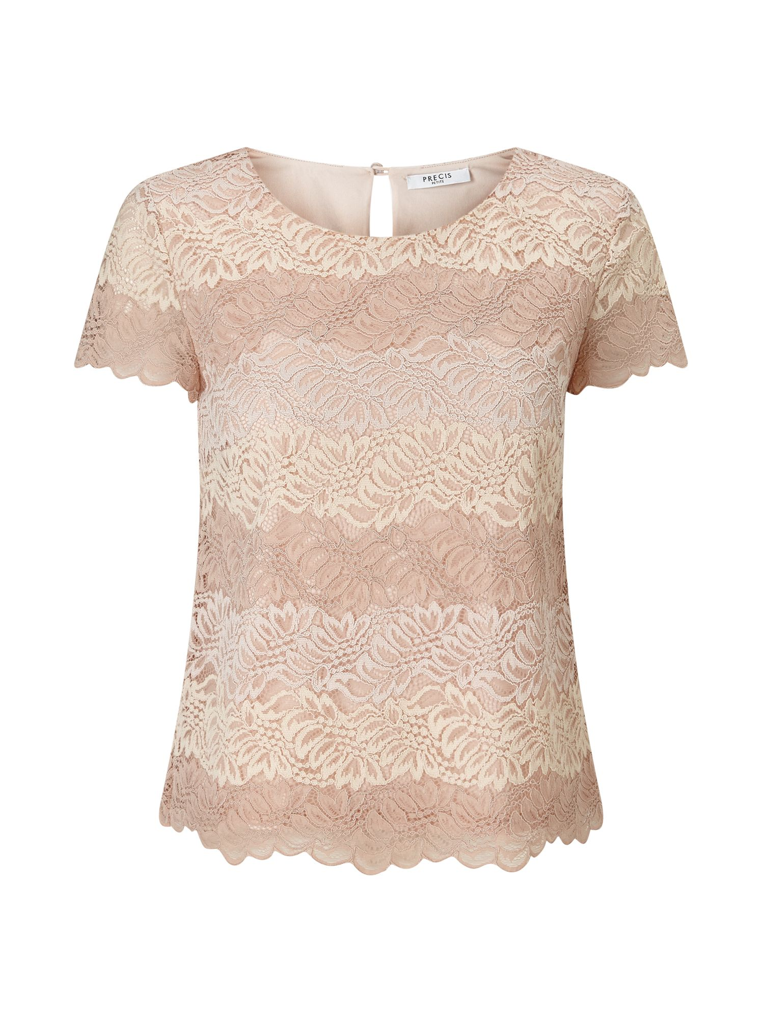 Precis Petite Petite Sara Stripe Lace Top, Neutral