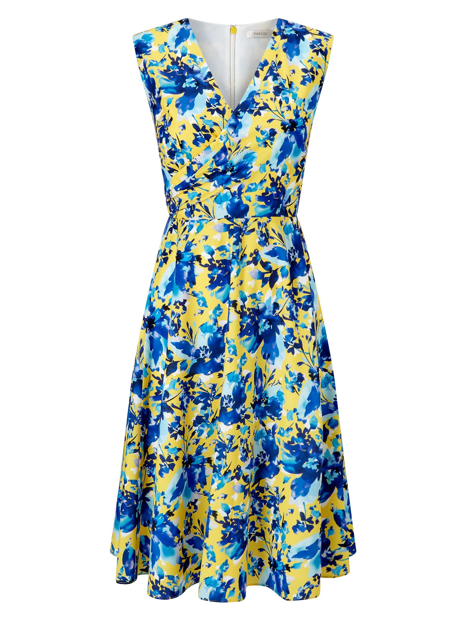 Precis Petite Petite Printed Wrap Dress, Yellow