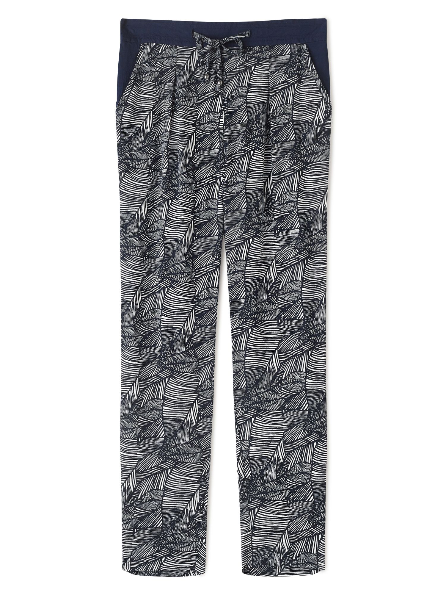 Dash Latin Palm Print Trouser, Blue