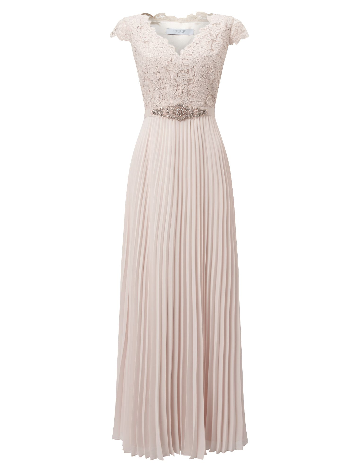 Jacques Vert Pleated Emb Bodice Maxi, Pink