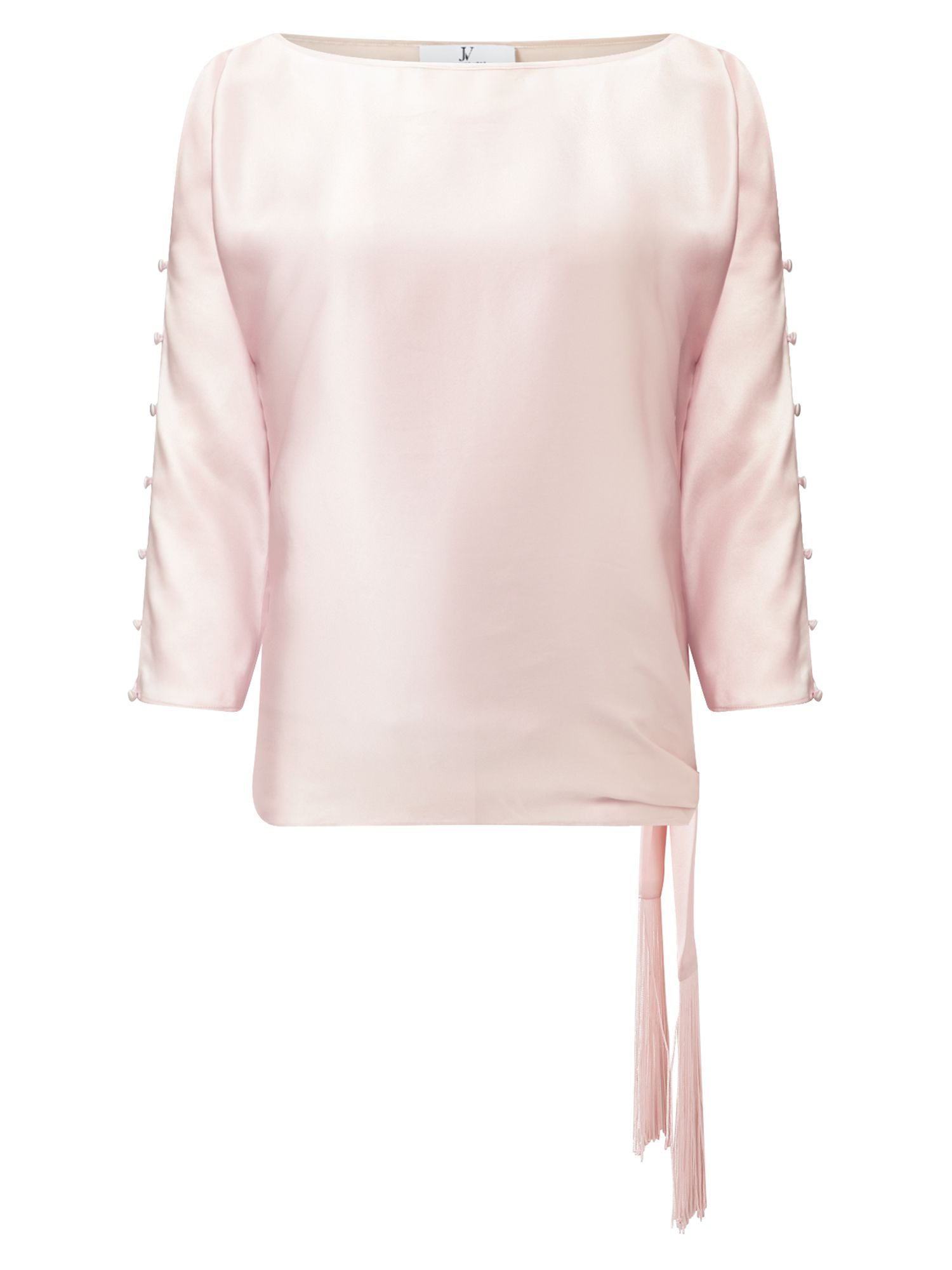 Jacques Vert Tie Side Fringed Top, Pink