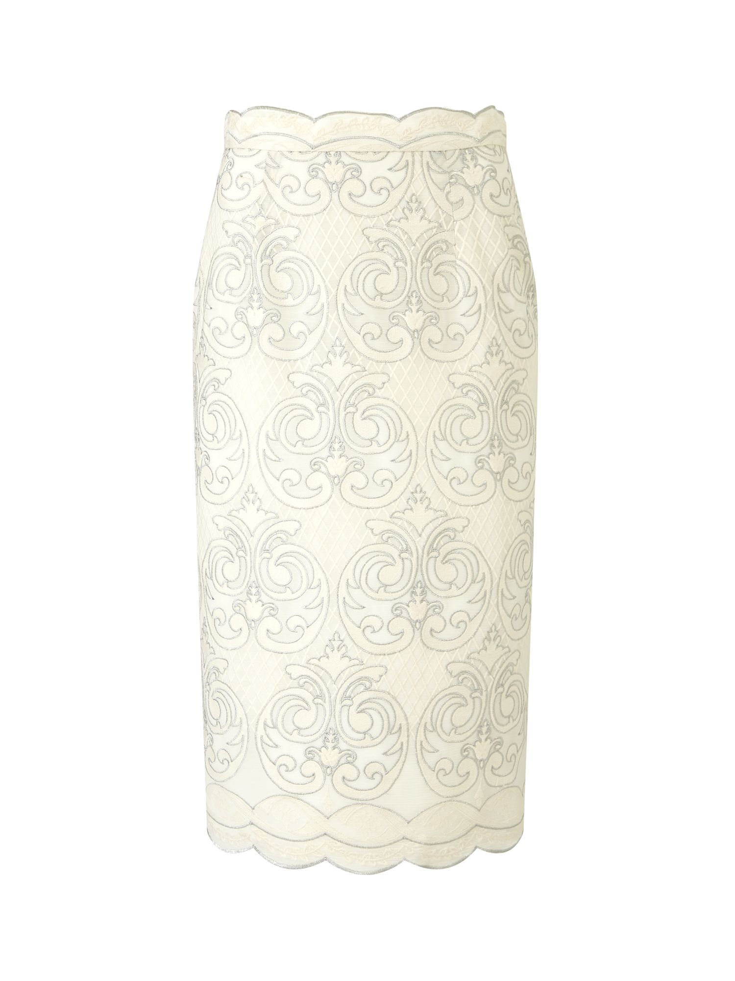 Jacques Vert Embroidered Pencil Skirt, White