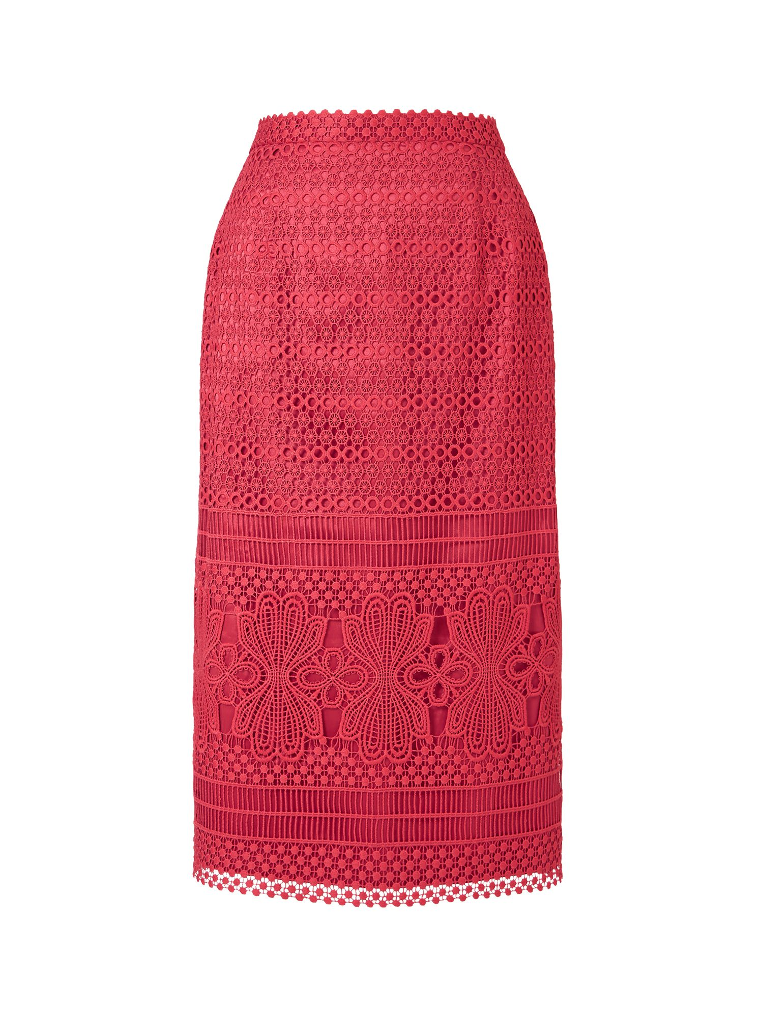 Jacques Vert Geo Lace Skirt, Red