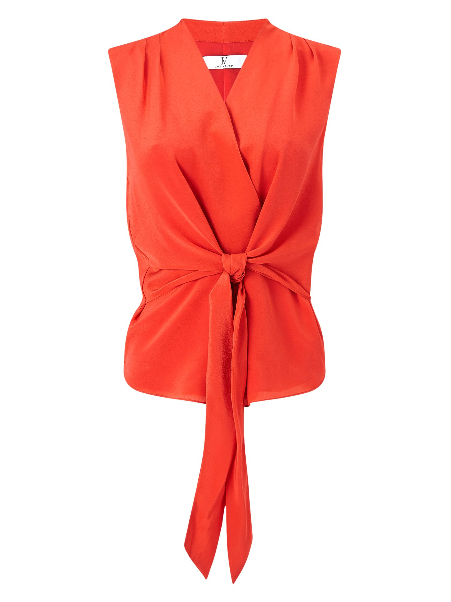 Jacques Vert Tie Front Sleeveless Top, Orange