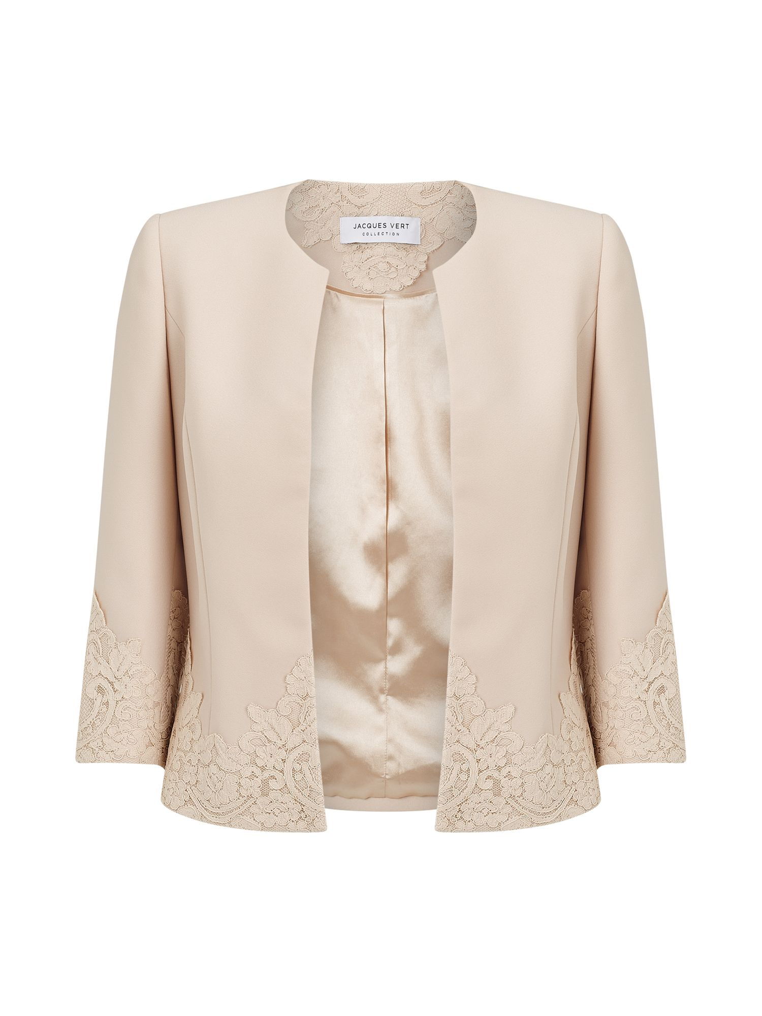 Jacques Vert Jacey Lace Cuff Jacket, Neutral