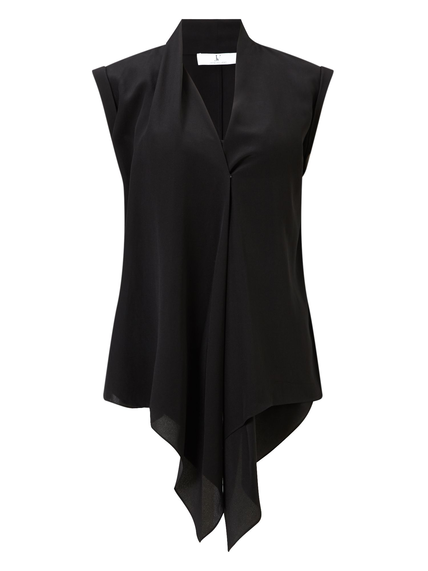 Jacques Vert Soft Drape Front Top, Black