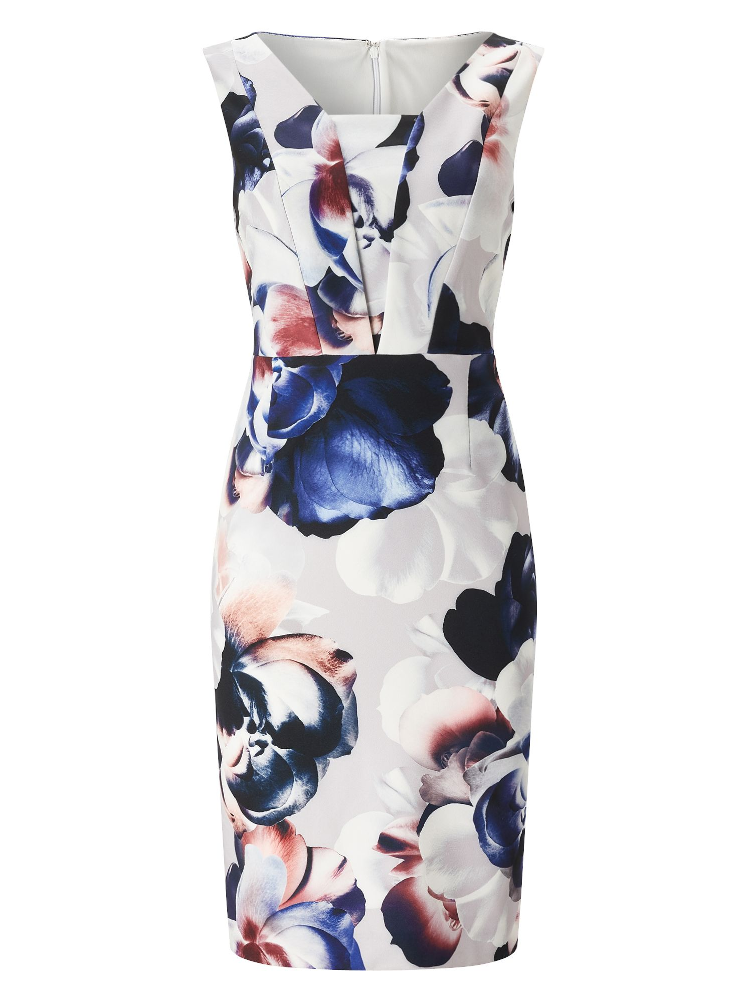 Precis Petite Milly Floral Petite Dress, Light Grey