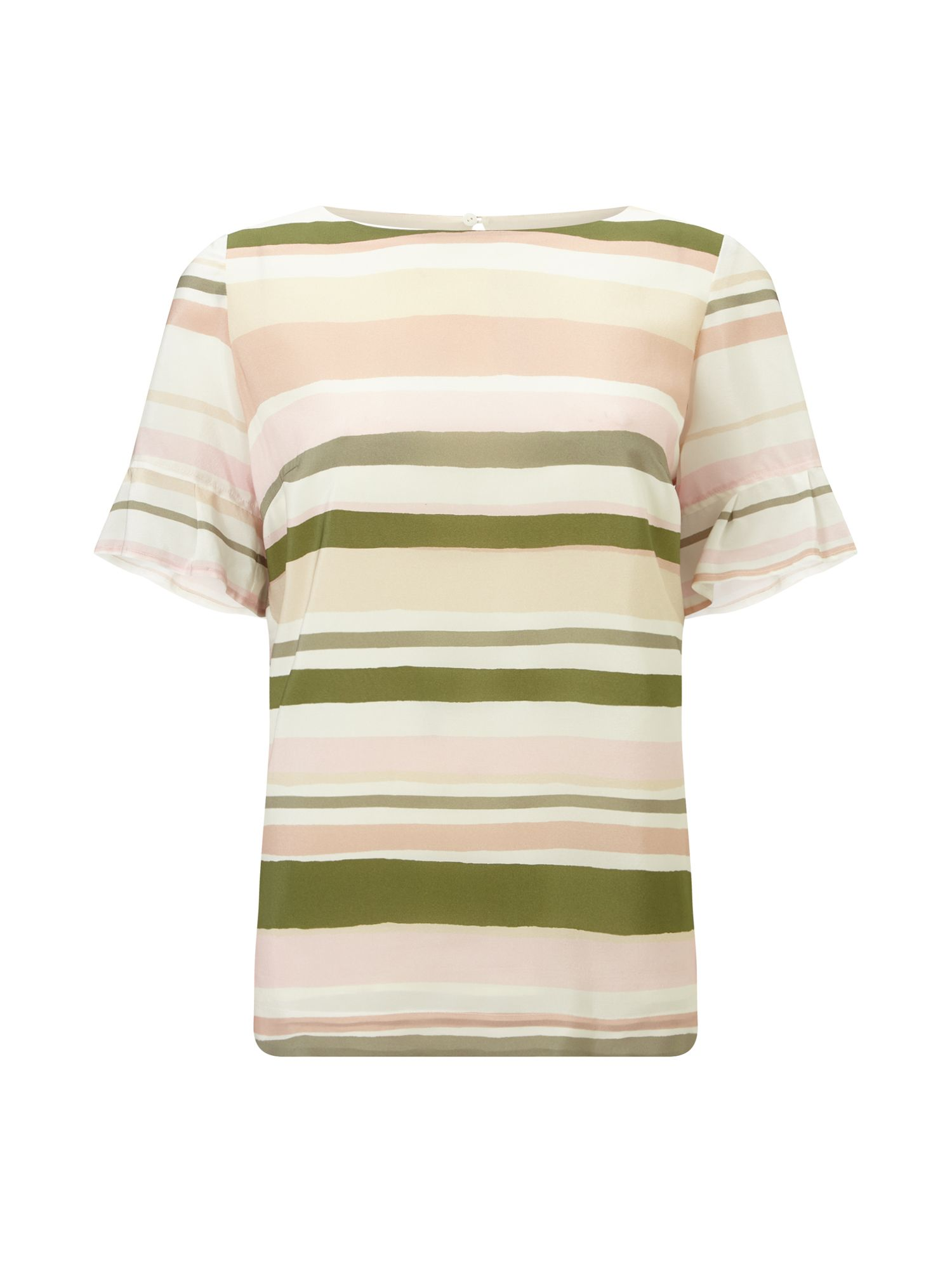 Jacques Vert Stripe Frill Sleeve Top, Multi-Coloured