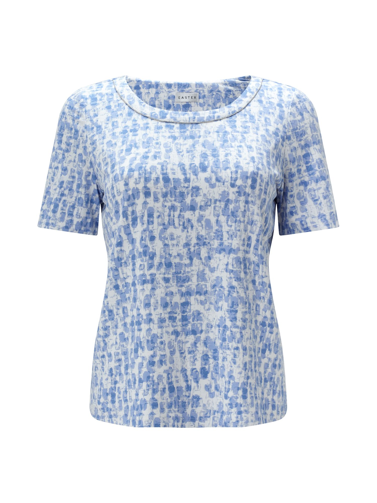 Eastex Stamp Print Jersey Top, Blue Multi